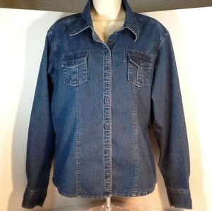 Rider Blue Jean Stretch Button up Shirt